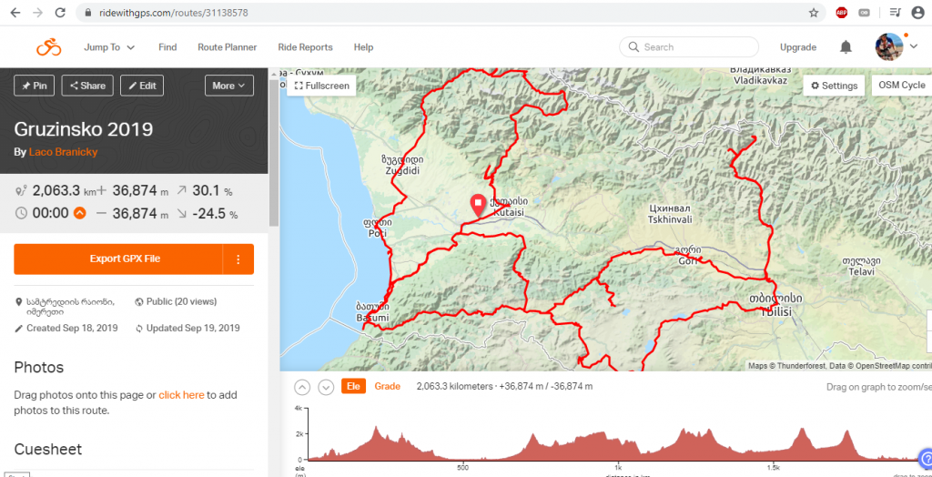 Planovanie trasy cyklovyletu mapa ridewithgps
